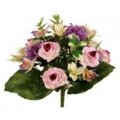 bouquet artificiel rose dalhia