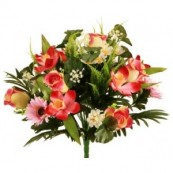 bouquet artificiel bouton rose ds8404