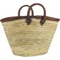 cabas en palmier, bord et poignées en cuir