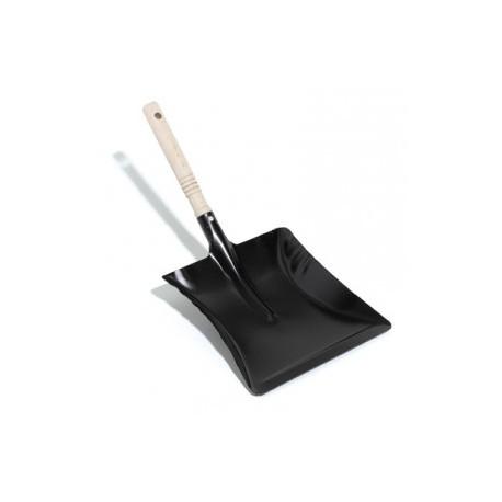 pelle à poussière métallique noire manche bois