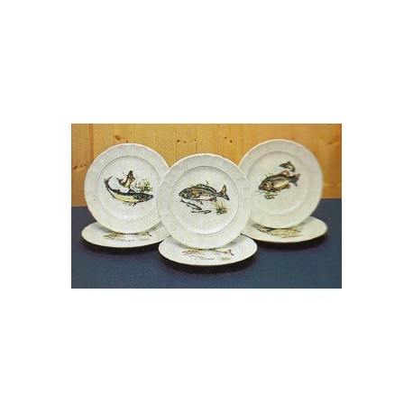 assiette plate céramique motif poisson