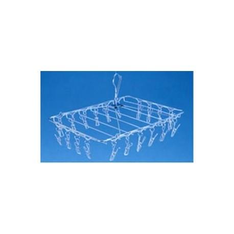 séchoir inox modèle rectangle 20 pinces à linge inox