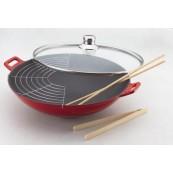 wok en fonte diam 36 cm rouge dégradé