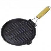 grill viande fonte rond 25.5 cm poignée pliante
