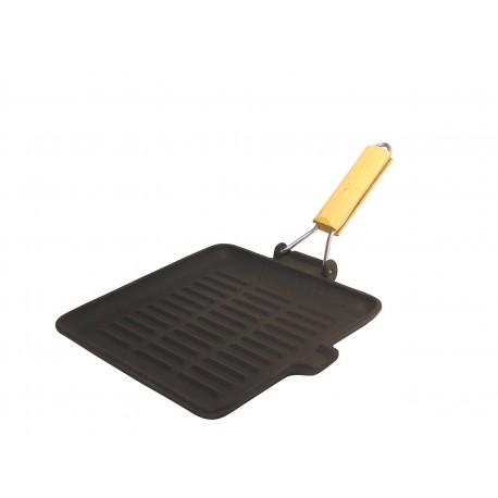 grill viande fonte carré 23*23 cm poignée pliante